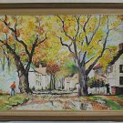 Vintage Painting Bisso Fall Country Architectural Impressionist Gardener Oil