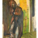 Vintage Bishop Painting Modernist Allegorical Jethro New Zealand Hillbilly  1977