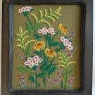 Vintage Needlework Rustic Floral Wild Flowers Chunky Dark Wood Frame Cabin Ranch