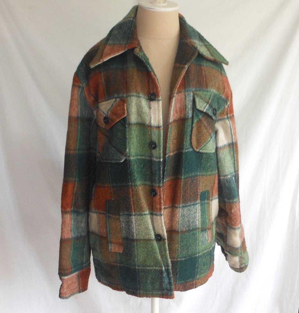 Jacket Vintage 60s Plaid Chore Hunting Barn Shirt Campus Heavy Lined  Tartan 38