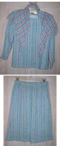 Vintage 60s Judith Bushyager Texture Blocking Handwoven Skirt Suit Tunic NOS