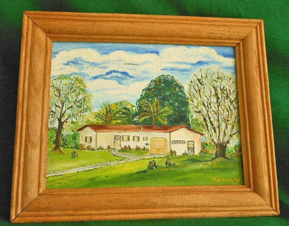 Painting Frame Oil A K Weitecki Vintage Ranch House Suburban Landscape 70s Mod