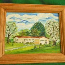 Painting Frame Oil A K Weitecki Vintage Ranch House Suburban Landscape 70s Mod