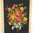 Vintage Needlepoint Still Life Bouquet Flowers Decor Vibrant Black Background