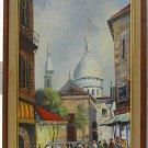 Paris Vintage Painting Sacre Coeur Montmartre Rain Street Scene Arno France