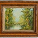 Vintage Oil Painting Forest Glade Romantic Landscape Impressionist Kantor Framed