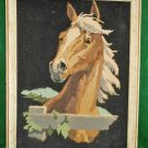 Vintage Golden Palomino Horse Painting Close Up Framed Equine