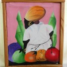 Vintage Original Haitian Painting M Pierre Rustic Frame Big Bottom Woman Fruit