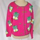 Lilly Pulitzer NOS Novelty Pink Palm Trees 3D Sweater Cardigan Trophy Jacket S