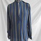 Pancaldi & B Silk Tunic Vintage 80s Deadstock Silk Stripe Military Epaulette 00