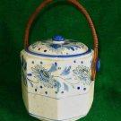 Antique Japanese Tea Caddy Blue White Wicker Handle Octagonal Chrysanthemum