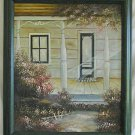 Vintage Painting Original Oil Peterson Architectural Victorian Porch Summer
