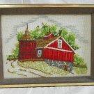 Needlework Farm Country Red Barn Silo Landscape Vintage Framed Landscape