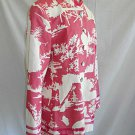 Quadrille Trophy Long Jacket Short Coat Summer Barga Print Pink NOS Couture 16