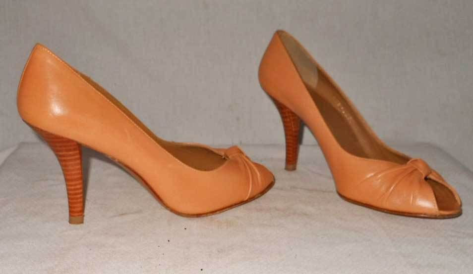 Pumps Peep Toe Leather Stiletto Stacked Wood Heel Origami Stuart Weitzman 7M