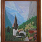 Zermatt Switzerland Vintage Painting Alpine Mountain Summer Alps Plein Air SID