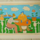 Signed R Weil Artist Proof Fat Couple In Garden Vintage Original