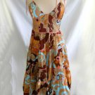 Catherine Malandrino Dress NOS Deadstock Tier Flared Spaghetti Corset Obi Print