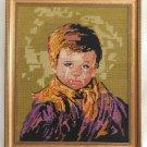 Vintage Needlepoint Portait Beautiful Boy Purple Shirt Gilded Fancy Frame Gay