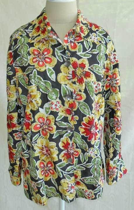 NOS Deadstock Grunge Laura Ashley Silk Floral Beaded Jacket Blazer Shirt M