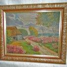 Vintage Impressionist Landscape Oil Painting Spring Pastoral RAHM Barn Flowers