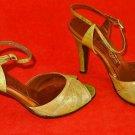 Vintage 60s Jack Rogers Ankle Wrap Peep Toe Mary Jane Paisley Pastel Sandals 5.5