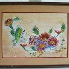 Vintage Painting Watercolor ME Olsi Sand Desert Flowers California Landscape