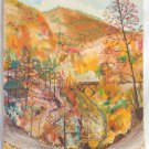 Vintage Painting Mountain Fall Landscape Forest New England Oil Billingsley