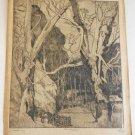 Marco ZIM Russia Russian Artist Etching 1930s WPA Era Snowed In Logging Sled