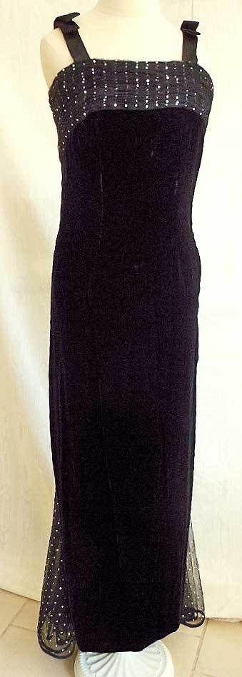 Valentino Night Vintage 90s Velvet Ballgown Gown Corset Bow Net Diamond Train