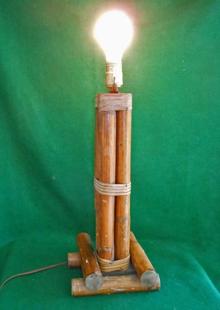 Vintage Mid Century Modern Tiki Hawaiian Hawaii Tall Square Decor Rattan Lamp