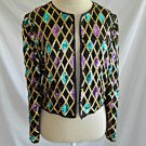 Vintage 70s Deadstock Allover Sequin Trophy Geometric Jacket Crop Silk S Kazar