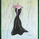 Original Painting Couture Evening Dress Gown on Hanger Pink Feather Boa Ginger