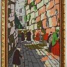 Vintage Needlepoint Needlework Jerusalem Wailing Wall Jewish Judaica Scene Frame