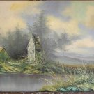 Vintage Spencer Landscape Oil Painting English Country Brook Unusual Perspective
