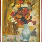 Vntage Painting Peony Still Life Vase Flowers Large Scale Framed Partridge 94
