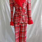 Sara Shelburne Couture Vintage 70s Red Plaid Coat Jacket Wide Leg Pants Faux Fur