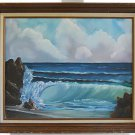 Vintage Painting Barrel Roll Surf Hawaii North Shore Beach Seascape Stef