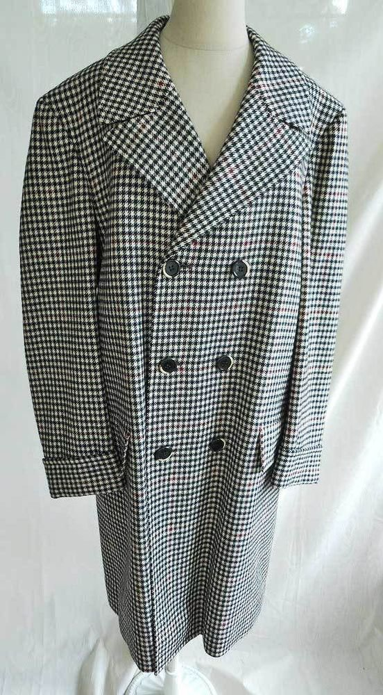 GRUNGE COAT Vintage 60s NOS Military Wool Rockabilly Zoot Houndstooth Plaid