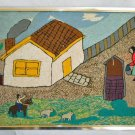 Huge Vintage Needlework Naive Impressionist Folk Art Polar Bear Cubs Village