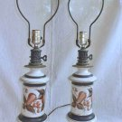 Ceramic Pair Lamps Hand Painted Vintage Pottery Decor  Jars Urns Fruit Classical