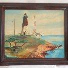 Lighthouse Original Oil Painting Marine Vintage  Modernist Folky Naive  Framed