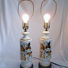 Lamps Vintage Tall Pair White Ceramic Gold Leaves Mid Century Modern Regency 20""