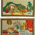 Large Pair Needlepoint Still Life Food Wine Tuscan Vintage Decor Culinary Framed