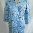 Tocca Embroidered Evening Shiny Floral Satin Pencil Skirt Suit Jacket Blazer Nos