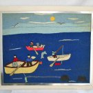 Huge Vintage Needlework Fisherman Fishing Boat Naive American Folk Art Marine