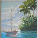 Tropical Seascape Vintage Painting Ramon Mendez 97 Sailboat Marine Exotic Island