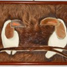 Vintage Tableau Tropical Birds Toucan Real Fur Collage Wall Folk Art Framed