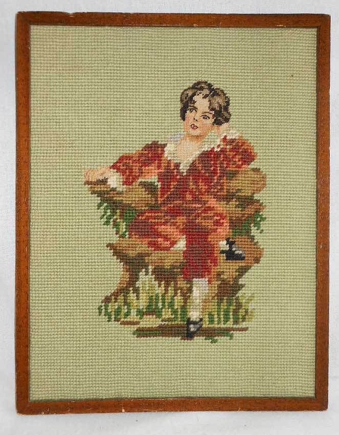 Vintage Classical Dutch Needlepoint Portrait Romantic Costume Boy in Red Velvet