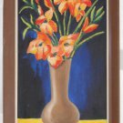 Vintage Realist Modernist Painting Orange Flowers Moderne In Ceramic Pot Estelle